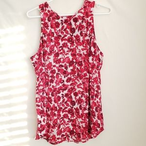 WhoWhatWear Floral Blouse Sleeveless Size L